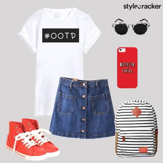 Tshirt Denimskirt Backpack Hightops Backtoschool - StyleCracker