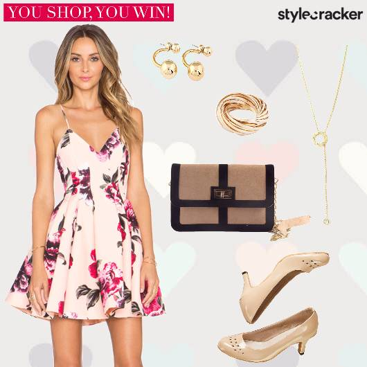 Floral FitandFlare Dress Pumps Slingbag  - StyleCracker