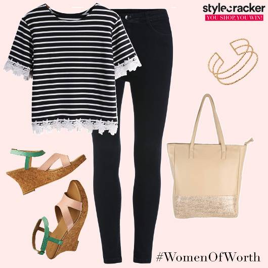 Casual Wedges Stripes Tote  - StyleCracker