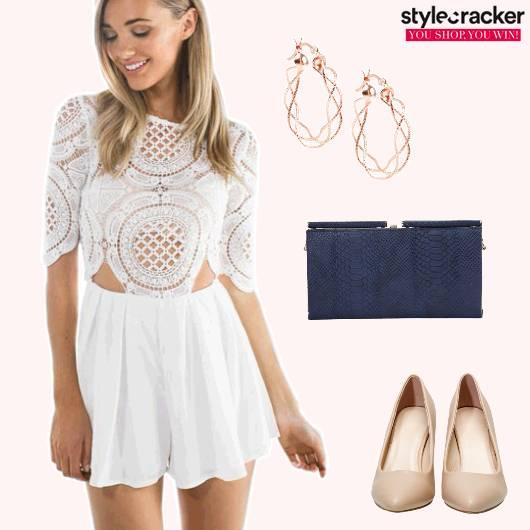 Jumpsuit Lace Clutch NudeHeels Brunch  - StyleCracker