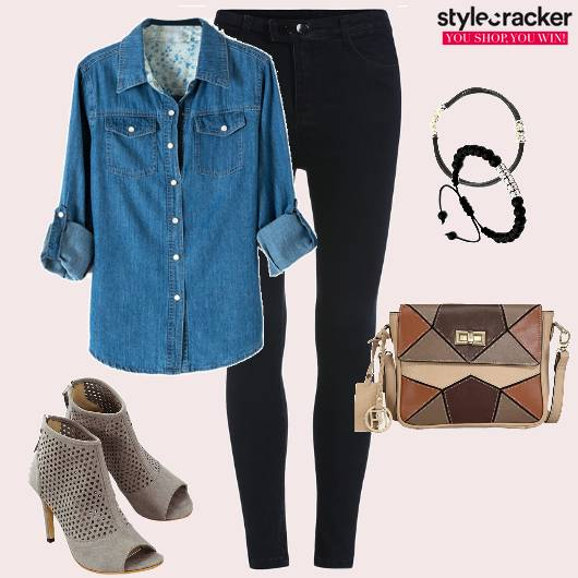 DenimShirt PeepToes Jeans SlingBag Shopping  - StyleCracker