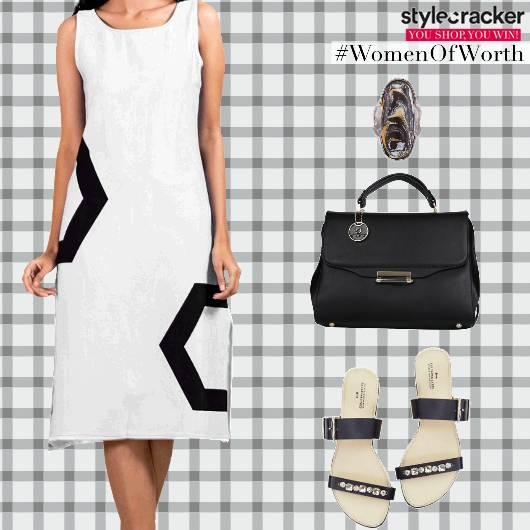 Casual Monochrome MidiDress Handbag  - StyleCracker