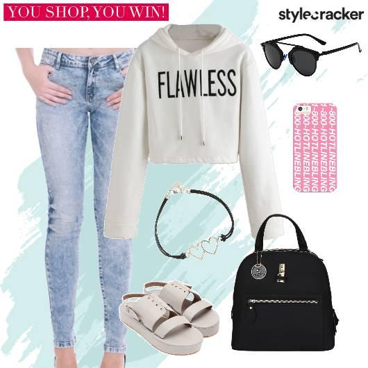 Sweatshirt Jeans Backpack Flatforms Casual - StyleCracker