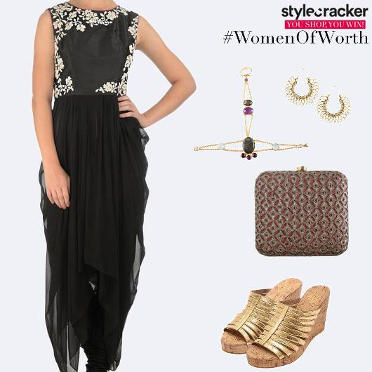 Festive Indian Embroidered DrapedTunic - StyleCracker