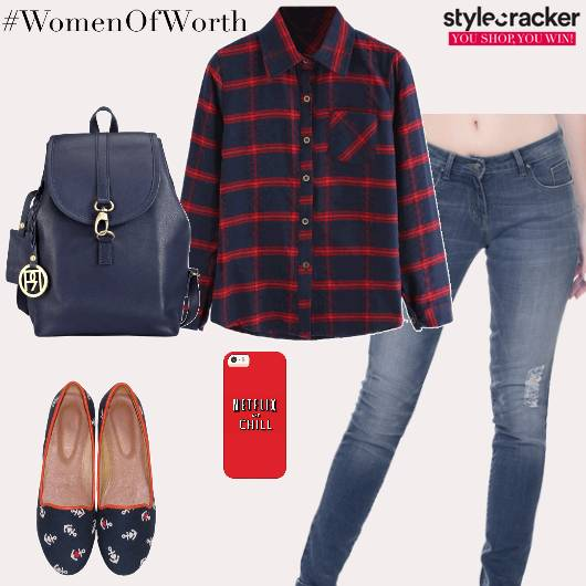 Casual College PlaidShirt Denims - StyleCracker