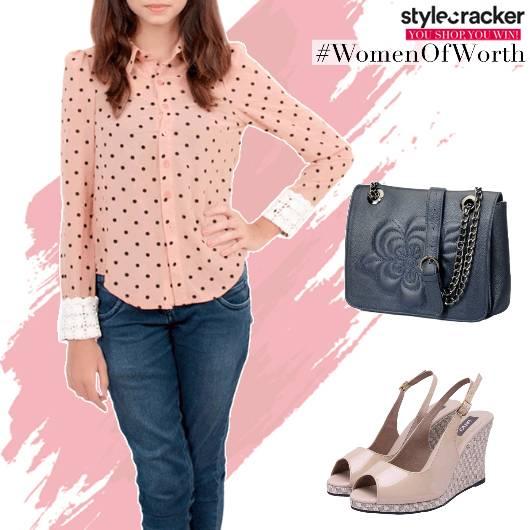 Casual DotsPrint LaceCuff Shirt - StyleCracker