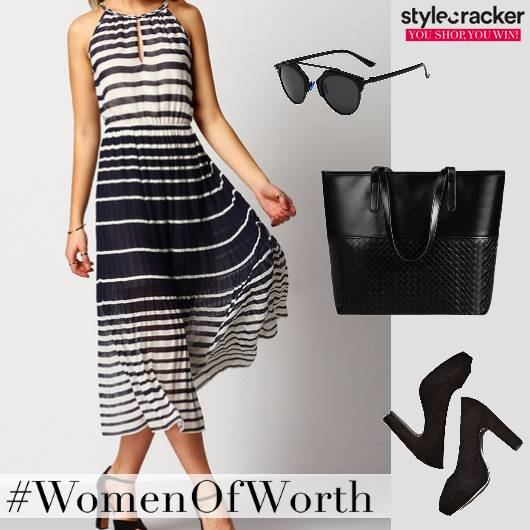 SmartCasual Pleats Monochrome Dress - StyleCracker