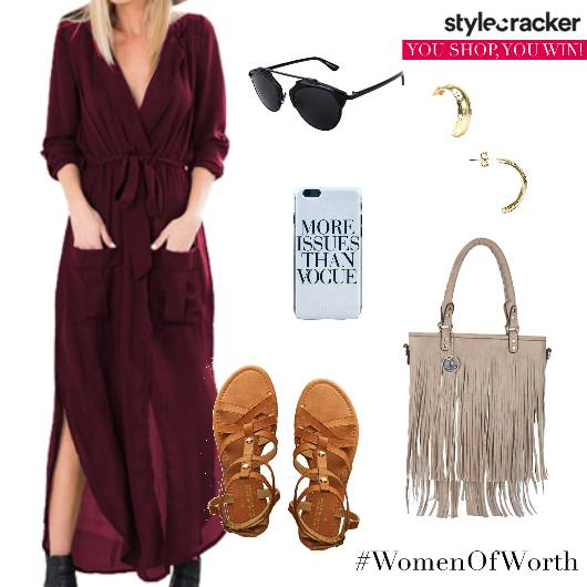 Maxidress Flats Fringebag Concert - StyleCracker