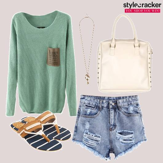 Sweater Top Ripped Shorts Necklace Flats - StyleCracker