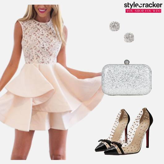 Party Glitter Clutch Bow Pumps Skater Dress - StyleCracker