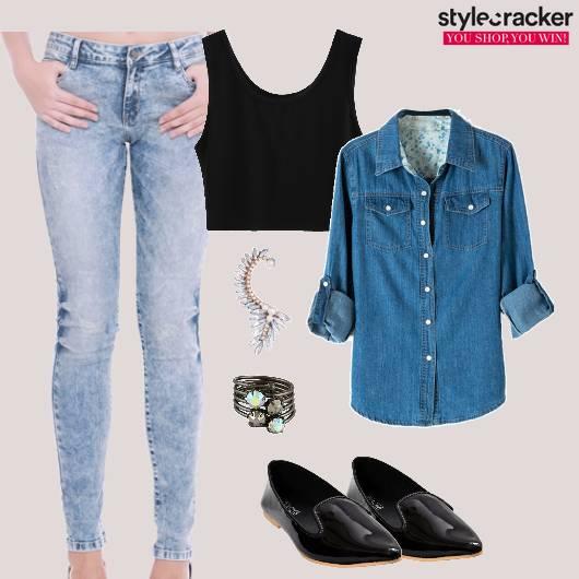 Denim Crop Jacket Casual Earcuff  - StyleCracker