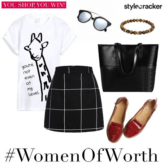 Print TShirt Plaid Skirt DeckedUp  - StyleCracker