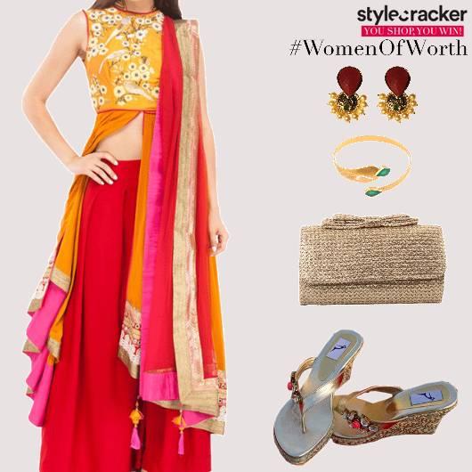 Festive indian EmbroideredKurta PallazoPants Dupatta - StyleCracker