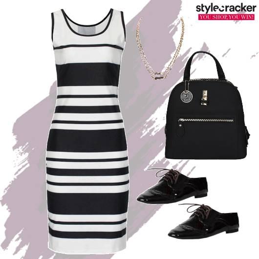 Striped Dress Backpack Layered Necklace  - StyleCracker