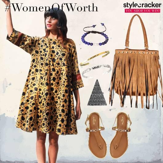 Printed Dress Fringe Bag Thong Flats Summer  - StyleCracker