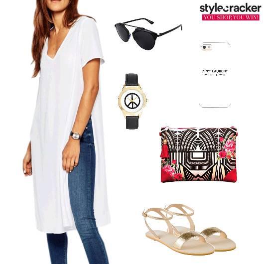 Longlinetop Jeans Flats Clutch Casual - StyleCracker