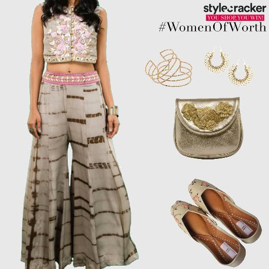 Festive Indian PalazzoPants Embroidered Croptop - StyleCracker