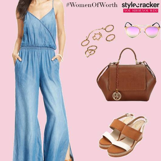 Denim WideLeg Jumpsuit Reflector Sunglasses - StyleCracker