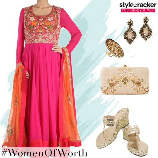 Festive Indian AnarkaliSuit EmbroideredClutch - StyleCracker