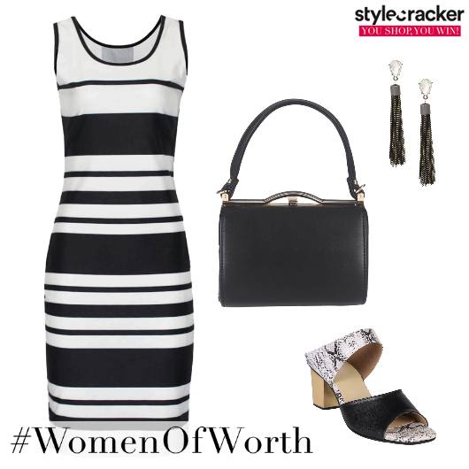 Monochrome Bodycon Workwear Dress - StyleCracker