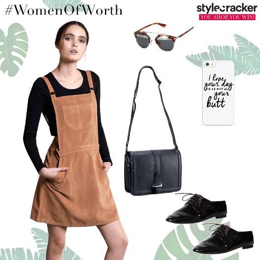 Pinaforedress Slingbag Oxfords Casual - StyleCracker