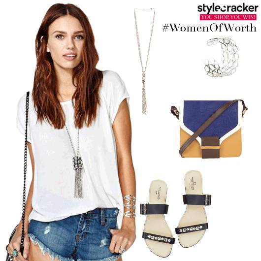 Casual Shopping WhiteTee StrappyFlats  - StyleCracker