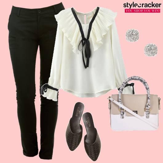Ruffles Trousers Work Blouse  - StyleCracker