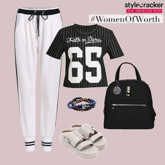 Sporty Black White Bcakpack Joggers  - StyleCracker