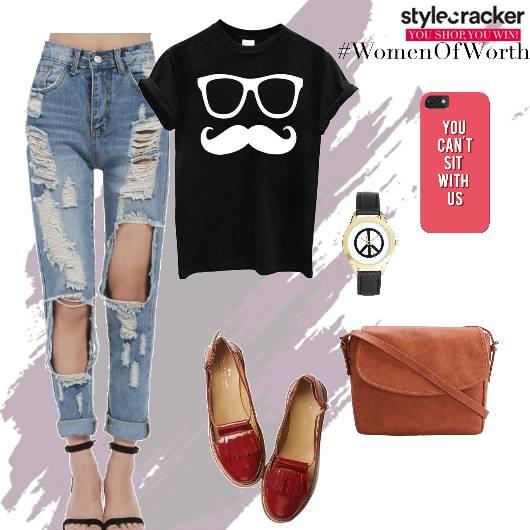 Tshirt Distressedjeans Loafers CRossbodybag  - StyleCracker