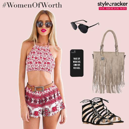 Croptop Shorts LaceupFlats Fringebag Casual - StyleCracker