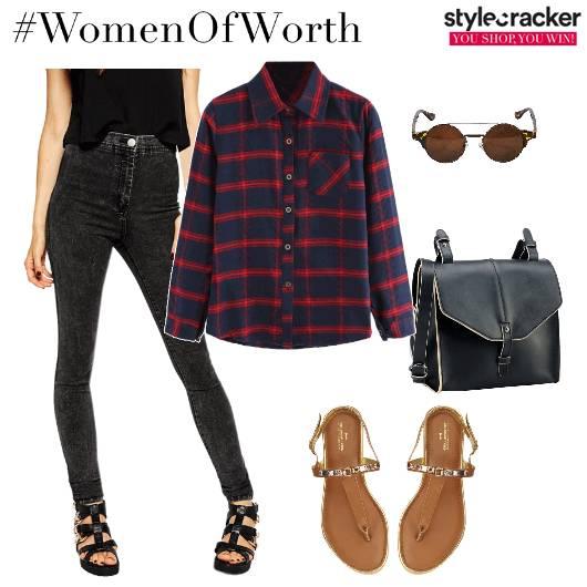 Buttondownshirt Jeans Flats Crossbodybag - StyleCracker