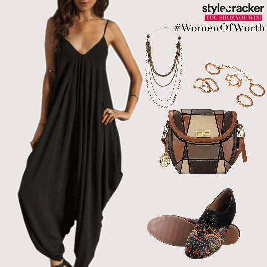Casual Jumpsuit ColourBlock Bag PrintedShoes - StyleCracker