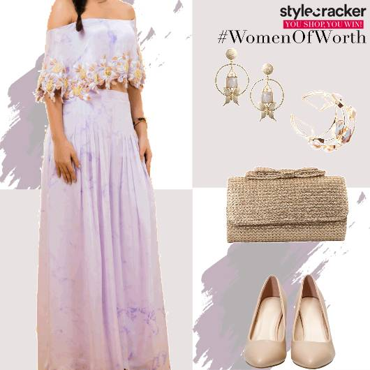 Festive Indian OffShoulder Croptop Skrit - StyleCracker