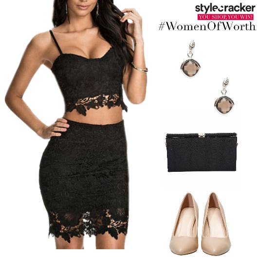 Croptop Skirt Set Pumps Clutch Party - StyleCracker