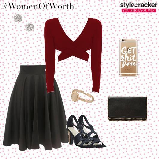 Croptop Skirt Clutch Heels Dinner - StyleCracker