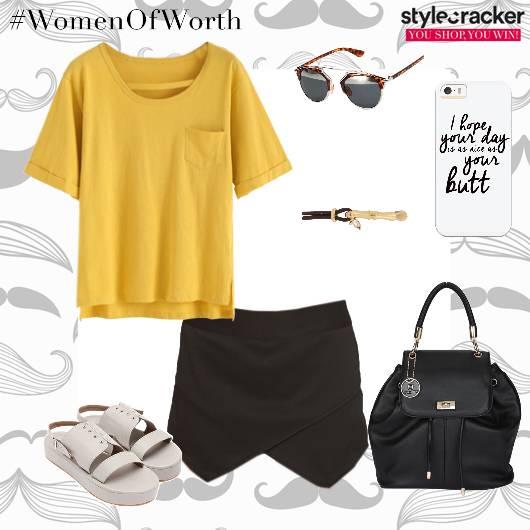 Tshirt Skirt Flatforms Backpack Casual - StyleCracker