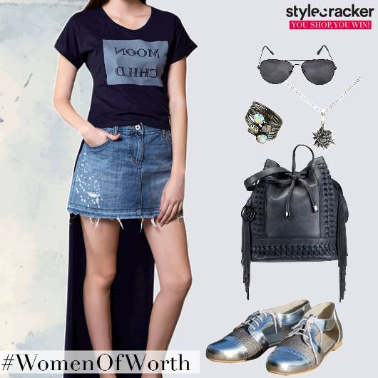 Casual HighLow TShirt DenimSkirt - StyleCracker
