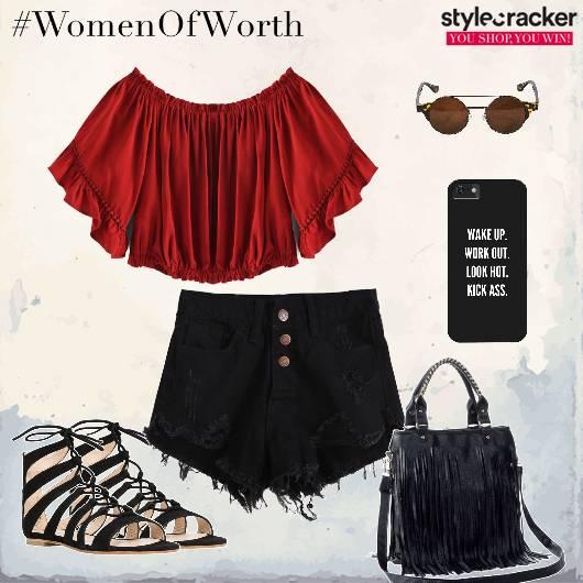Offshouldertop Shorts Fringebag LaceupFlats - StyleCracker