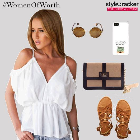 Offshouldertop Jeans Flats Slingbag Casual - StyleCracker