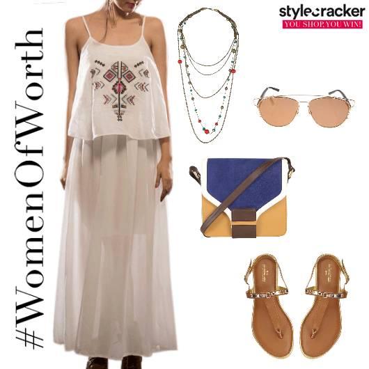 MaxiDress LayeredNecklace StrappyFlats Vacation Summer - StyleCracker