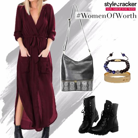 Maxi Dress Side Slits Boots  - StyleCracker