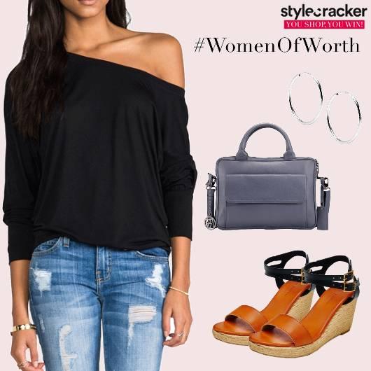 OneShoulder RippedDenim Casual Wedges  - StyleCracker
