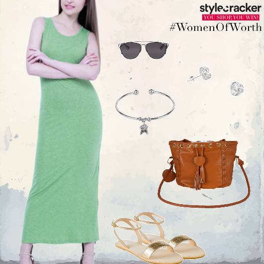 Maxidress Flats Slingbag Bracelet Casual - StyleCracker
