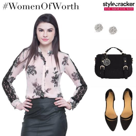 Buttondown Lace FauxLeather Skirt Balletflats Satchel Work - StyleCracker