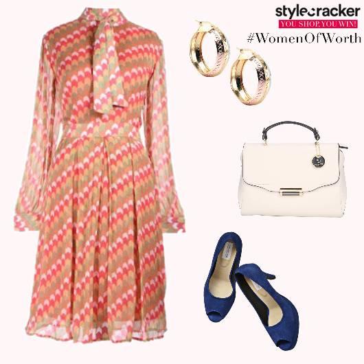 Prints Dress Bow Brunch PeepToeHeels - StyleCracker