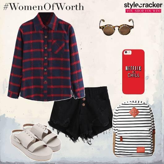 Plaidshirt Shorts Backpack Flatforms Backtoschool - StyleCracker