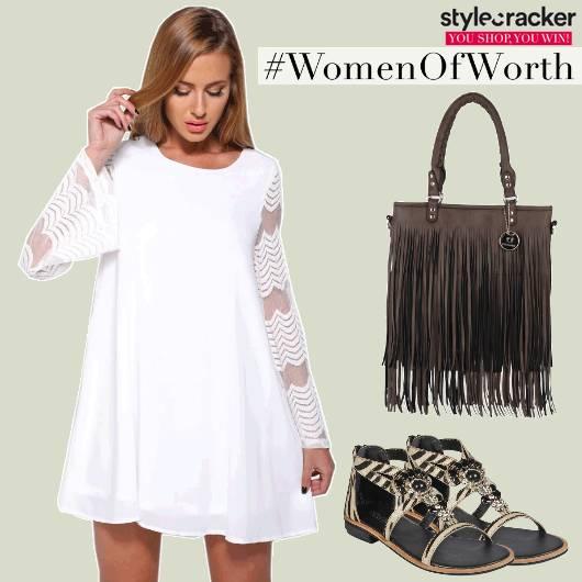 Flare Dress Fringe Bag Flats Casual  - StyleCracker