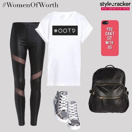 Tshirt Jeggings Backpack Hightops Workout - StyleCracker