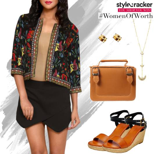 Printed ShortJacket Skirt WedgeHeels - StyleCracker