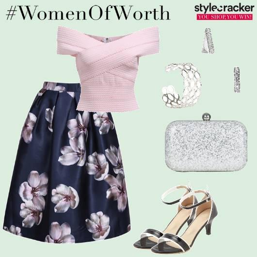 OffShoulder CropTop Floral Skirt Night  - StyleCracker